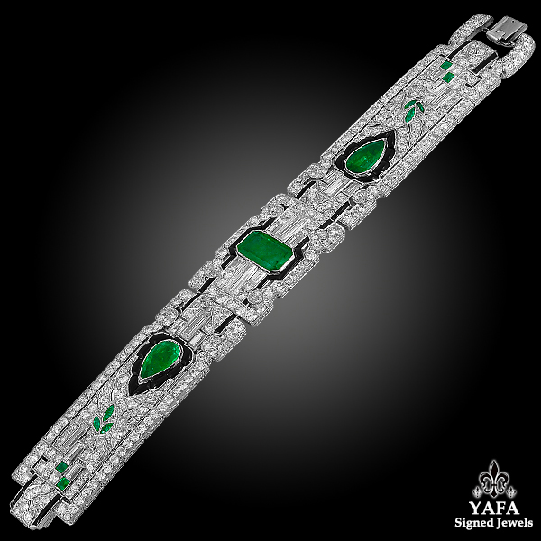 E.M GATTLE & Co. Emerald, Diamond & Onyx Bracelet