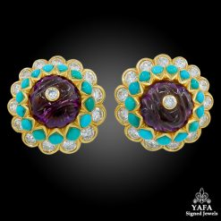CARTIER Carved Amethyst, Turquoise, Diamond Ear Clips