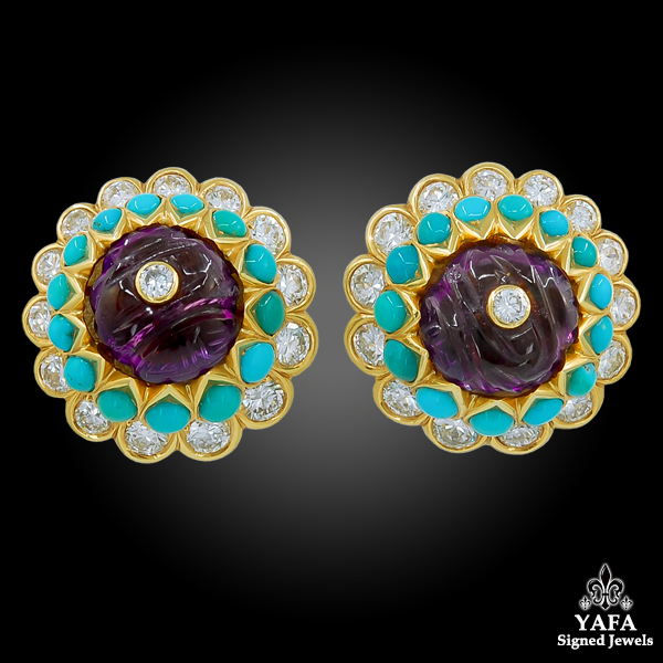 CARTIER Carved Amethyst, Turquoise, Diamond Earrings