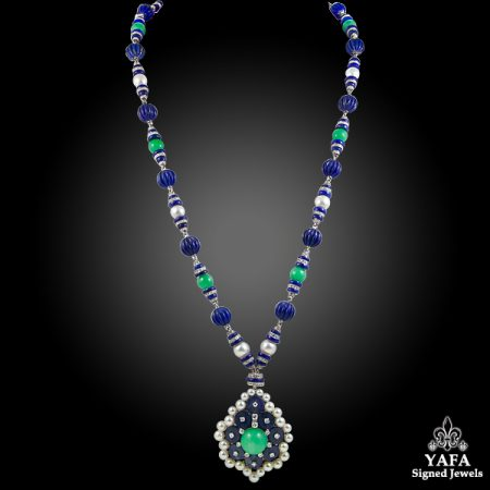 VAN CLEEF & ARPELS Two Tone Jadeite Jade, Lapis Lazuli, Diamond Pearl Necklace