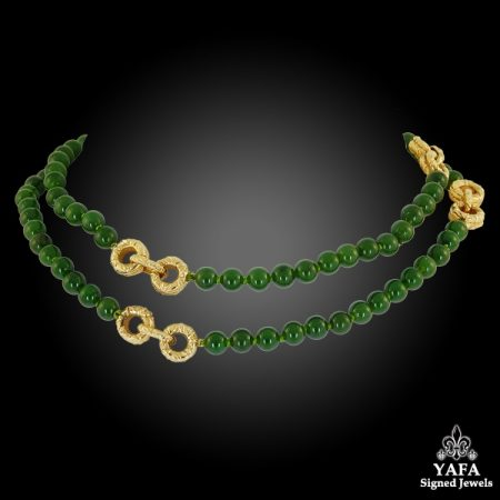 Van Cleef & ARPELS Jade Bead Gold Necklace