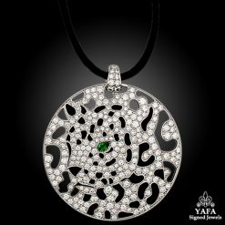 CARTIER Diamond, Emerald, Onyx Panther Disc Pendant/Necklace