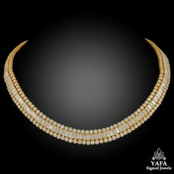 CARTIER Tapered, Baguette, Round Diamond Necklace - 38 cts.