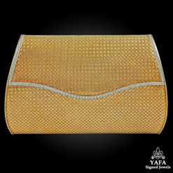 18k Gold Basket Weave Gold Diamond Evening Bag