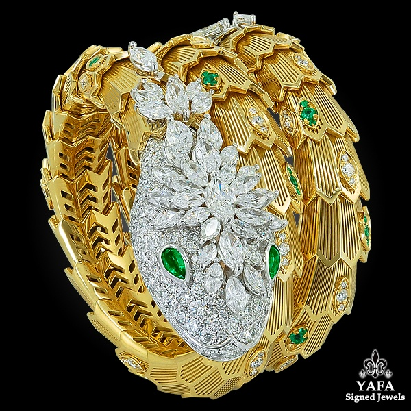 BULGARI Diamond & Emerald Serpenti Gold Bracelet