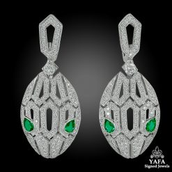 BULGARI Diamond, Emerald Serpenti Ear Clips