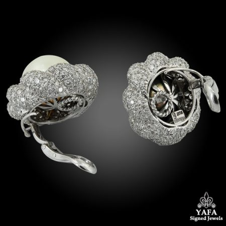 VERDURA Diamond, White & Grayish Ear Clips