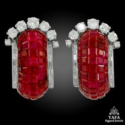 VAN CLEEF & ARPELS Diamond, Mystery-Set Ruby Ear Clips