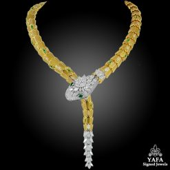 BULGARI Diamond & Emerald Eyes Serpenti Necklace