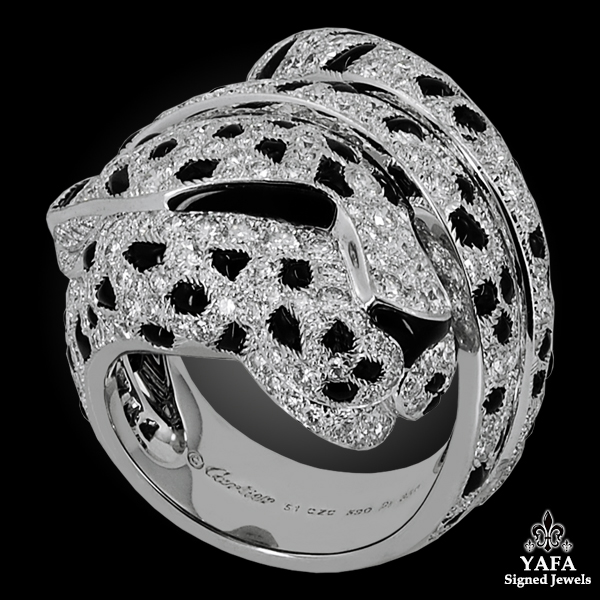 CARTIER Panthere Diamond Onyx Coil Ring