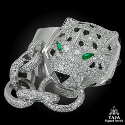 CARTIER Pave Diamond, Onyx & Emerald Panther Head Motif Ring