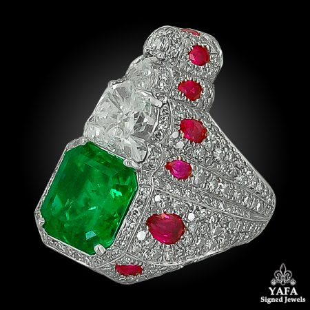HAUME Diamond, Ruby & Emerald Ring