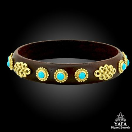 Cabochon Turquoise Gold Bangle