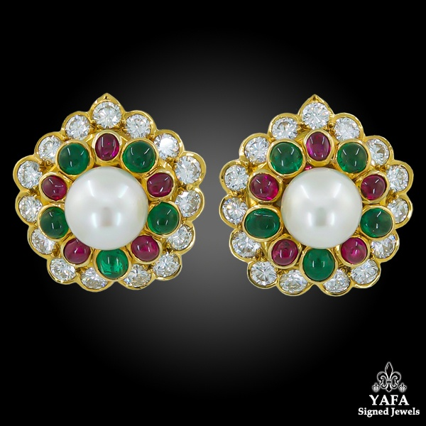 VAN CLEEF & ARPELS Cabochon Rubies, Emerald, Pearl Earrings