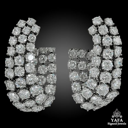 HARRY WINSTON Three Lines  Diamond Flexible Loop Earrings