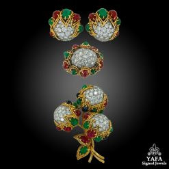 VAN CLEEF & ARPELS Diamond, Cabochon Emerald, Ruby Earrings Suite