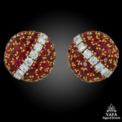 VAN CLEEF & ARPELS Diamond, Ruby Dome Bombe Earrings