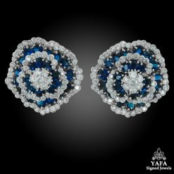 Platinum Diamond Sapphire Flower Motif Earrings