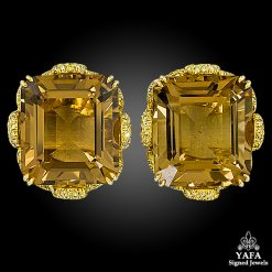 Emerald-Cut Topaz, Diamond Gold Ear Clips