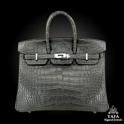 HERMES 25cm Crocodile Alligator Birkin Bag Graphite
