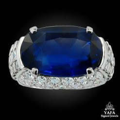 BULGARI Diamond & Oval-Shaped Burma No Heat Sapphire Ring
