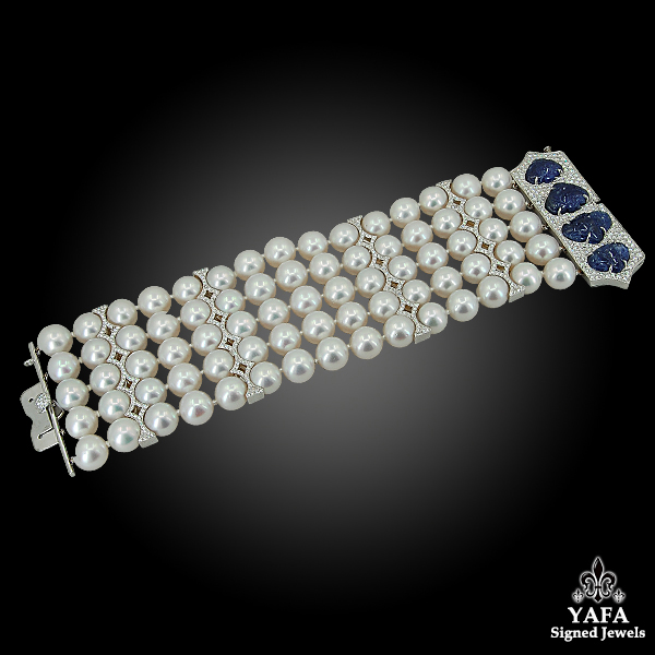 18k White Gold Diamond, Carved Sapphire, Pearl Bracelet
