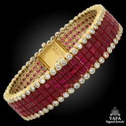 VAN CLEEF & ARPELS Diamond, Three Row Mystery-set Ruby Bracelet