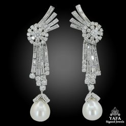Platinum Diamond, Pearl Drop Earrings