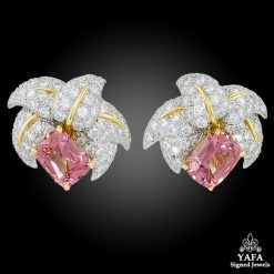 TIFFANY & Co. Diamond, Pink Tourmaline Schlumberger Ear Clips