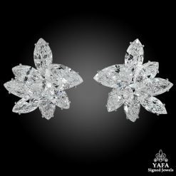 HARRY WINSTON Pear & Marquise-Shaped Diamond Cluster Ear Clips