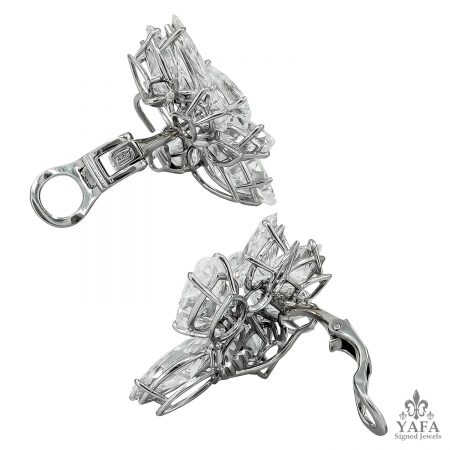 HARRY WINSTON Pear and Marquise-Shaped Diamond Cluster Ear Clips - 33.85 cts.