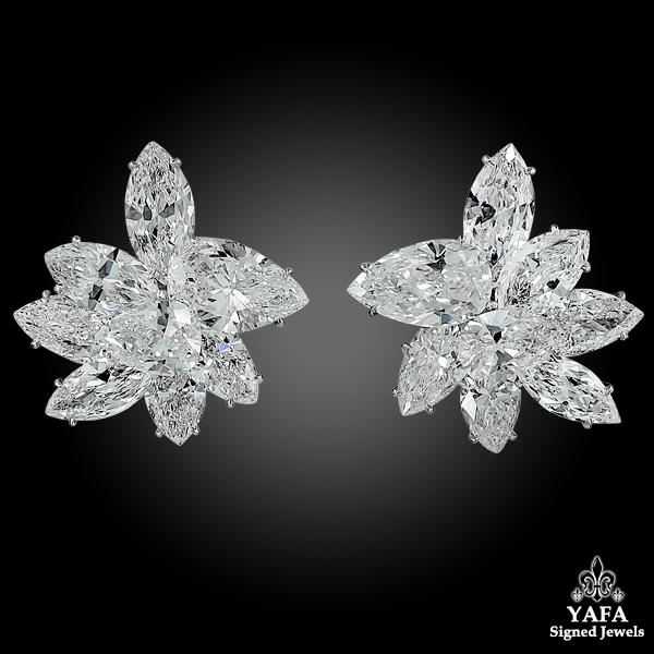 HARRY WINSTON Pear & Marquise-Shaped Diamond Cluster Earrings