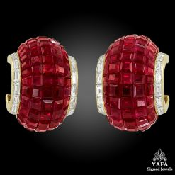 VAN CLEEF & ARPELS Mystery-Set Ruby and Diamond Ear Clips