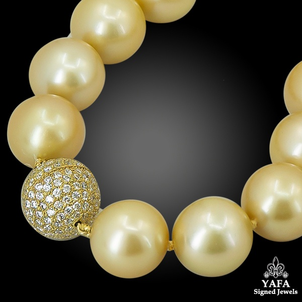 Strands of Golden South Sea Pearls Necklace