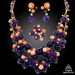 CARTIER Diamond, Coral, Amethyst Delices De Goa Necklace Suite
