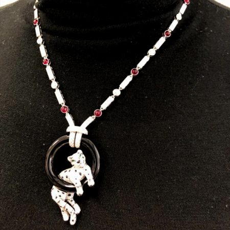 CARTIER Panthere Vintage Diamond Ruby Sautoir Necklace