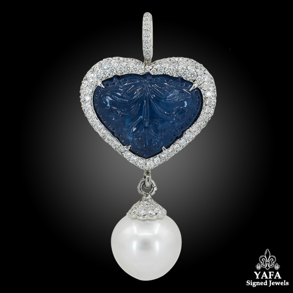 18k Gold Carved Sapphire, Diamond & Pearl Pendant/Brooch