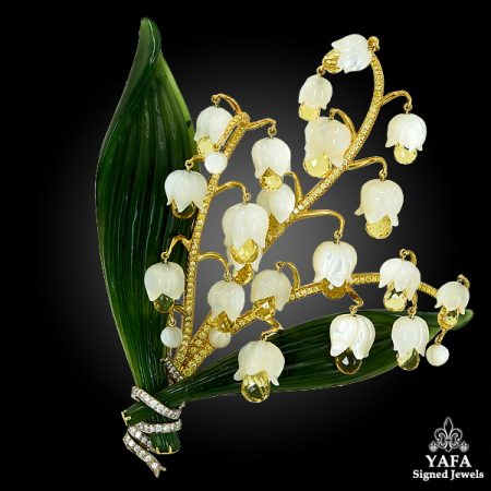 18k Yellow Gold Lily of The Valley Brooch