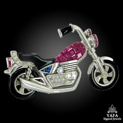 P. PIOVAN Diamond, Mystery-Set Ruby, Onyx Motorcycle Brooch