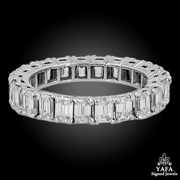 Platinum Emerald Cut Diamond Eternity Ring