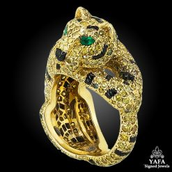 CARTIER Fancy Yellow Diamond, Onyx, Emerald Panther Ring