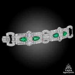 Art Deco Diamond, Pear-Shaped Emerald Bracelet
