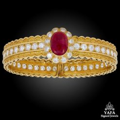 VAN CLEEF & ARPELS Diamond, Cabochon Ruby Bangle