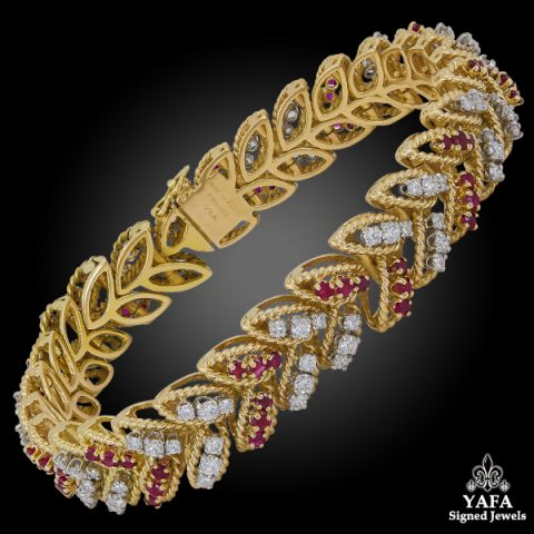 VAN CLEEF & ARPELS Diamond Ruby Leaf Bracelet