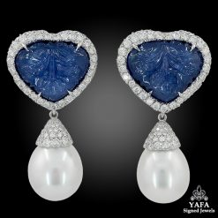 ADRIA HAUME 18k Gold Diamond, South Sea Pearl, Carved Sapphire Earrings