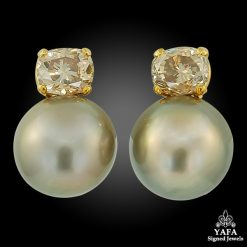 18k Gold Diamond, South Sea Pearl Earrings