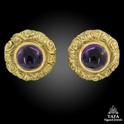 18k Gold Cabochon Amethyst Earrings