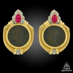 14k Gold Diamond, C14k Gold Diamond, Cabochon Ruby Coin Earrings