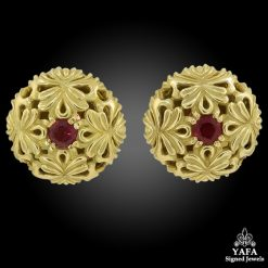 18k Gold Garnet Button Ear Clips
