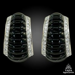 18k Gold Diamond Onyx Ear Clips